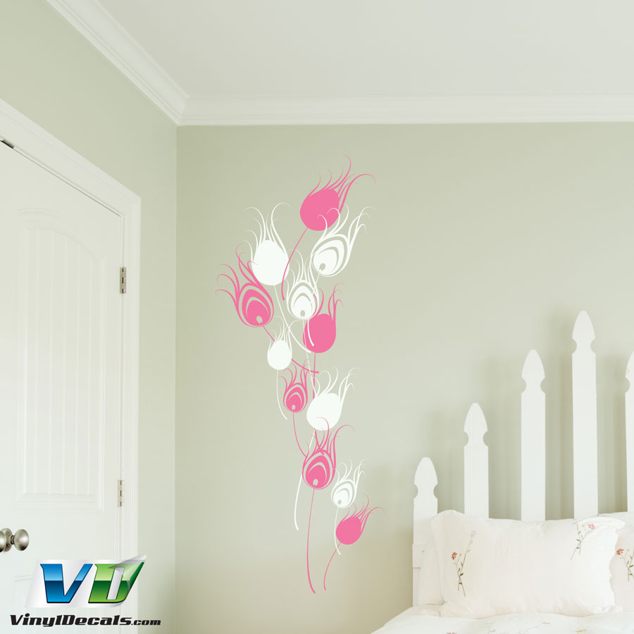 two color peacock feathers wall art decal. Black Bedroom Furniture Sets. Home Design Ideas
