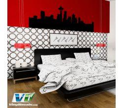 Seattle Washington Skyline Vinyl Wall Art Decal Sticker