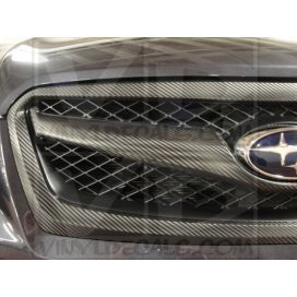 Carbon FIber installed on grille of Subaru