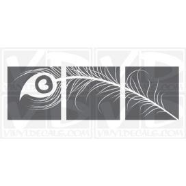 Peacock Feather Triptych wall vinyl decal stickers