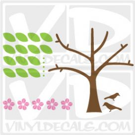 Pink Blossom Tree Wall Art Decal