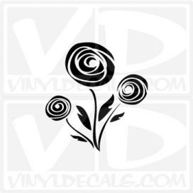 Abstract Rose Bunch Outline Car Window Vinyl Decal Sticker