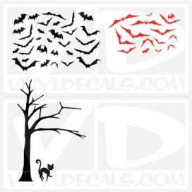 creepy tree of bats-wall-decal-sticker