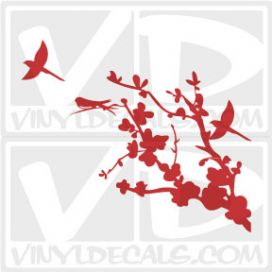 Cherry Branch with Birds Vinyl Wall Decal Sticker