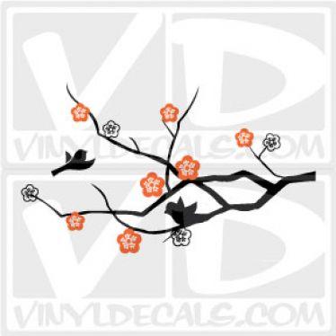 Cherry Branch with Birds Vinyl Wall Decal Sticker