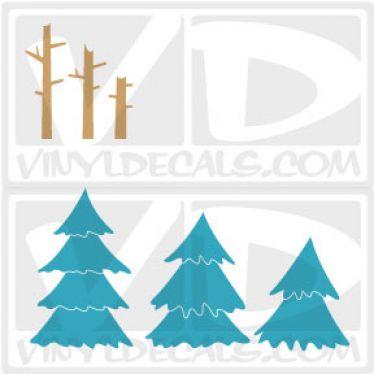Alpine Pine Tree Wall Art Decal Sticker