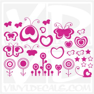 Hearts Flowers and Butterflies wall vinyl decal stickers