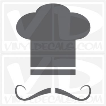 Chef Hat with Mustache wall vinyl decal stickers