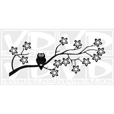 Owl on a Branch Vinyl Wall Decal Sticker
