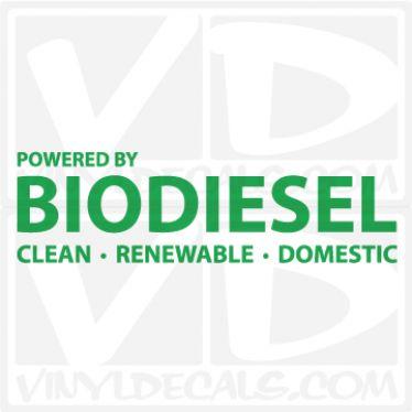 Powered By Biodiesel Vinyl Decal Sticker