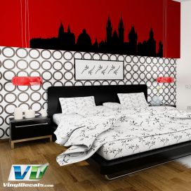 Prague Czech Republic Skyline Vinyl Wall Art Decal Sticker