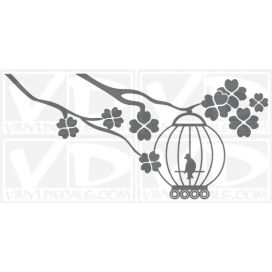 Birdcage on a branch wall vinyl decal stickers