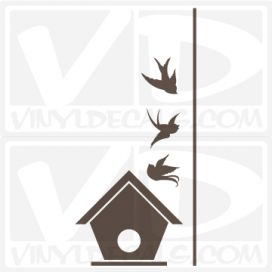 Birdhouse with Swallows wall vinyl decal stickers