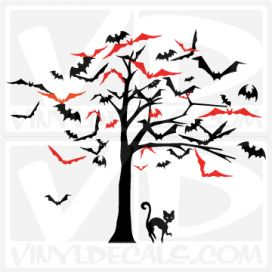 creepy tree of bats-wall-decal-sticker